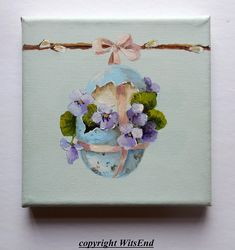 Bird Egg painting original art Violets by 4WitsEnd on Etsy