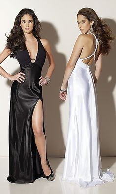 Low Cut Black Evening Gown by Mori Lee Style  Name  Deep V-Neck Key-Hole  Gown Details  Front Slit 687e37029