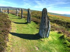 The Ring of Brodgar (alternative spelling Brogar) comprises a massive ceremonial enclosure and stone circle probably dating from between 2500 and 2000 BC. Around it are at least 13 prehistoric burial mounds and a stone setting (2500-1500 BC). (Scotland )