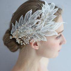 Wedding Hair Fascinator, Bridal Headdress, Gold Headpiece, Fascinator Hairstyles, Flower Headpiece, Crown Hairstyles, Bridal Headpieces, Hair Fascinators, Bridal Headbands