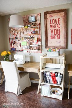 Art Studio Organization Ideas – Carmen Whitehead Designs – My CMS Font Design, Design Poster, Deco Design, Studio Design, Vintage Craft Room, Vintage Crafts, Vintage Art, Vintage Style, Art Studio At Home