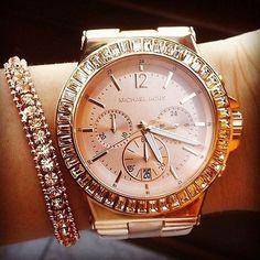 NWT New Michael Kors Women Oversize Dylan Rose Gold Glitz Watch MK5412