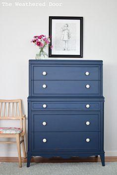 35 Ideas For Bedroom Makeover Navy Dresser Makeovers Grey Bedroom Furniture, Bedroom Furniture Makeover, Painted Bedroom Furniture, Blue Furniture, Bedroom Dressers, Blue Bedroom, Colorful Furniture, Repurposed Furniture, Living Room Furniture