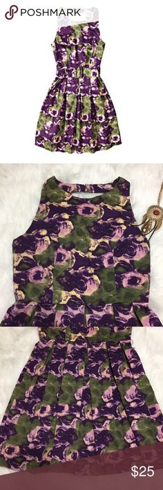 Beautiful floral dress 👗 Celebrate the new season in this elegant  dress. Great Condition 97% cotton 3% spandex  cute design in the back see photo. Measurements dress Length 33' cami length 15' Skirt length 19' armpit to armpit 15' See Thru Soul Dresses Midi