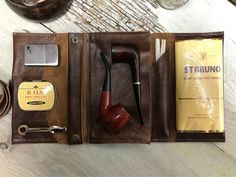 Large Tobacco Pipe Pouch / Pipe Roll / Pipe Bag Cigar Brown