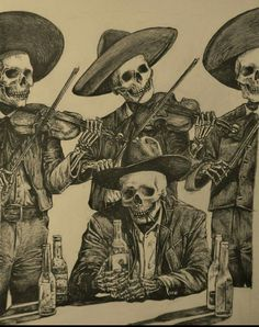 In México.A Broken heart.whit Friends, a Love Song and a bottle of tequila. The day of The dead tradition. Arte Horror, Horror Art, Sextant Tattoo, Mexican Skull Tattoos, Mexican Skulls, Mexican Skeleton, Chicano Tattoos, Day Of The Dead Art, Skeleton Art