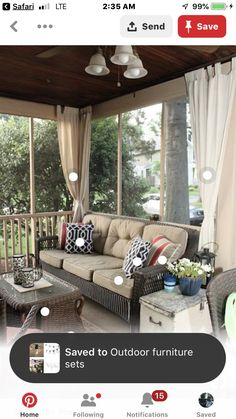 Curtains: House Tour Room-by-Room Link-up Party: Porches, Patios, Decks, Sunrooms, and Balconies Back Porches, Decks And Porches, Screened Porches, Front Porch, Screened Porch Decorating, Screened In Porch Furniture, Front Yards, Outdoor Rooms, Outdoor Living