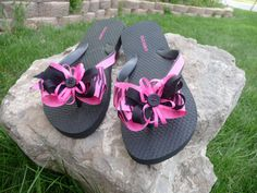 Pink Zebra ribbon flip flops