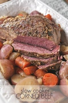 Cook a delicious and tender corned beef in your slow cooker! Perfect for St. Patrick's Day and frees up room on the stove or in your oven! #stpatricksdayfood #cornedbeef #cornedbeefrecipes #easycornedbeef #slowcookercornedbeef #stpatricksday #crockpotcornedbeef #cornedbeefrecipes