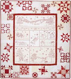 """Happy Snowmen frolic in a Winter Wonderland surrounded by a deep border of swirling snowflakes! This 64"""" x 71"""" quilt is a single, easy to follow pattern that can be stitched in any color that coordinates with your fabrics."""