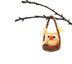 $31.46 miniature crochet #owl to decor your home, amigurumi little owl, stuffed owl, hanging decor tiny owl, light #yellow owl in brown nest, owl #toy