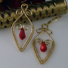 Red Crystal Wire Woven Earrings.