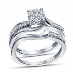 Round Cut Diamond 14K White Gold GP 925 Silver Promise Bridal Ring Set Size 9.5