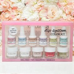 Kiara Sky Dip System Color Starter Kit With Clear Coat Acrylic Dip Nails, Color Kit, Dipped Nails, Sparkles Glitter, Professional Nails, Powder Pink, Starter Kit, Dips, Sky