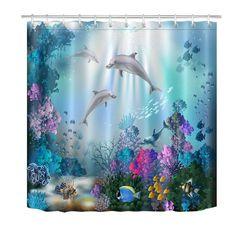 LB Kids Dolphin Underwater Fish Coral Reef Scenery In Blue Ocean Shower Curtain Shower Curtains Boutique Ocean Bathroom, Beach Bathrooms, Master Bathroom, Bathroom Mat, Bathroom Ideas, Navy Bathroom, Bathroom Organization, Bathroom Inspiration, Ocean Shower Curtain