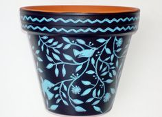 Hand Painted Pot 6 Inch Planter Sanctuary in by ThePaintedPine, $25.00
