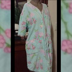 Seafoam Green Floral Terry Cloth Robe Full Frontal Zip Intimates & Sleepwear Robes