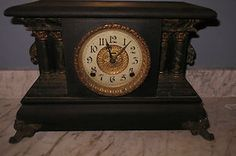 Ahhhh - Antique faux marble mantle clock on the mantle.  Starting bid on eBay for this authentic antique just $85.00