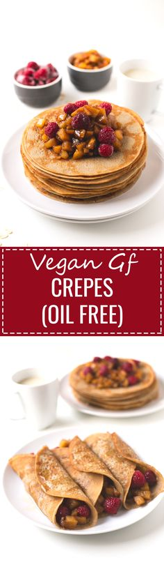 Vegan gluten-free crepes (oil-free) - We've improved our popular vegan crepes recipe and now they're also gluten-free, healthier and taste even better!