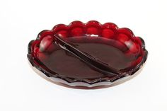 RUBY RED CANDY Dish,Vintage Collectible candy dish,cut glass candy dish, divided candy dish, vintage red candy dish, vintage serving dish by TheJellyJar on Etsy