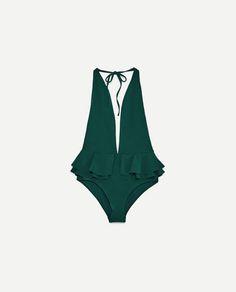 e76191d5eee162 Zdjęcie 2 KOSTIUM KĄPIELOWY Z DEKOLTEM HALTER z Zara Stroje Kąpielowe,  Bikini, Kostiumy Kąpielowe