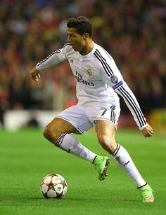 Cristiano Ronaldo of Real Madrid in action during the UEFA Champions League Group B match between Liverpool and Real Madrid CF on October 22, 2014 in Liverpool, United Kingdom.