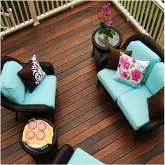57 ideas backyard deck furniture awesome for 2019 Deck Furniture, Composite Wood Deck, Decking Material, Outdoor Decor, Composite Decking, Outdoor Living, Outdoor Design, Decks And Porches, Outdoor Deck Furniture