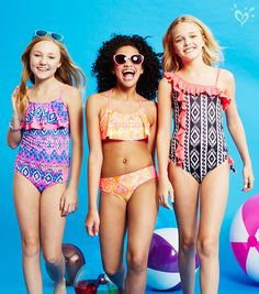Suit up in a flouncy & bright one-piece, tankini or bikini! | Justice
