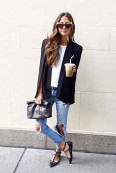 Love this cape blazer paired with ripped jeans on Something Navy - click for 14 more ideas!