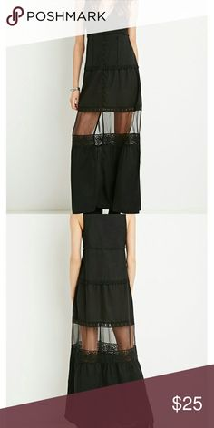 Crochet trim maxi dress This cute bohemian style dress features an organza panel Button closure Forever 21 Dresses