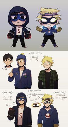 concepts of Tweek and Craig for a Superhero secret life AU