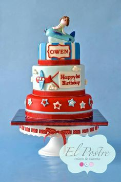 Airplane Cake Airplane Birthday Cakes, Airplane Party, First Birthday Cakes, Birthday Themes For Boys, Birthday Fun, 1st Birthday Parties, Little Boy Cakes, Cakes For Boys, Time Flies Birthday
