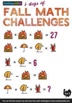 Are Your Kids Ready for 5 Days of Fall Math Challenges? Math Multiplication, Maths Puzzles, Math Teacher, Teaching Math, Math Games, Math Activities, Math Talk, Math Challenge, Daily Math