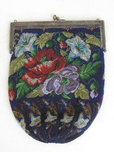 Antique Victorian Glass Beaded Bag  Flowers #Unbranded