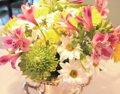I love a colourful, floral arrangement! #pink #green #yellow #white #floral