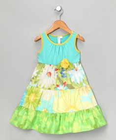 Turquoise Floral Tiered Dress on #zulily