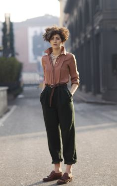 elegant pants and silky top