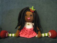 African American Strawberry Shortcake Crochet Doll Plush Afro Dreads Dread Locks Natural Black Hair Stuffed Toy Baby Girl Gift MADE TO ORDER...