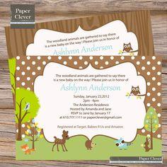 Neutral baby shower invitation - woodland theme, digital file, printable. $13.00, via Etsy.