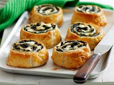 Spinach and feta scrolls recipe - By Woman's Day, Spinach and feta scrolls, spinach recipe, brought to you by Woman's Day. Spinach Recipes, Fish Recipes, Whole Food Recipes, Recipies, Healthy Recipes, Cake Ingredients, Pastry Recipes, Cooking Recipes, Pizza