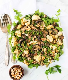 Lentil Salad with Roasted Cauliflower and Mushrooms - Marinated Lentil Salad with Roasted Cauliflower and Mushrooms. Bright, healthy, and perfect for a filling lunch or side. {vegan, gluten free}