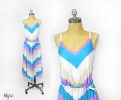 Vintage 70s Sundress  Jersey Dress  Striped 1970s Dress by Aligras