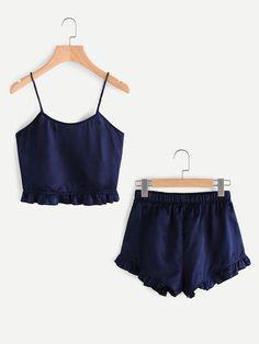 Romwe Frill Trim Cami And Shorts Pajama SetM