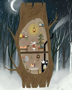 No photo description available. Winter Illustration, Forest Illustration, Christmas Illustration, Children's Book Illustration, Illustrations, Christmas Art, Christmas Pictures, Whimsical Art, Cute Art