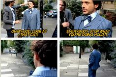 Robert Downey Jr. photo shoot and a cat.  This man and his obsession with cats...