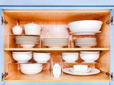 Risers maximize every cabinet 🍽 Food Pantry Organizing, Small Space Organization, Kitchen Cabinet Organization, Home Organization Hacks, Storage Hacks, Organizing Your Home, Kitchen Storage, Organization Station, Organising
