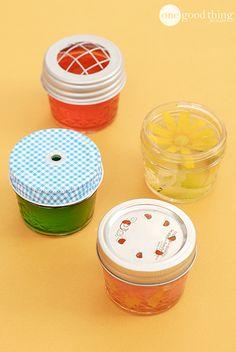Gel Air Fresheners -1 cup water -2 envelopes of unflavored gelatin -1 Tbsp. Salt -20 drops essential oils