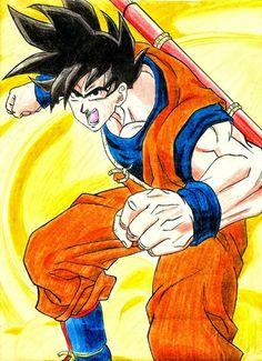 FAN ART: Ilustración de Goku de Dragon Ball Z [Volando] por PASCUAL | PASCUAL: Mis Dibujos de Anime Manga