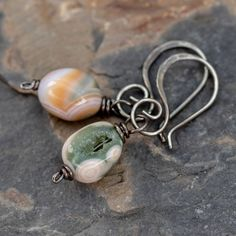 Jasper and Sterling Silver Wire Wrapped Pendant ~ Large Cherry Creek Jasper Natural Stone Handmade Wire Wrap Pendant ~ Earthy