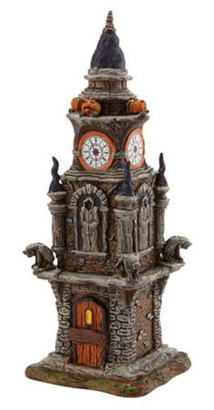 Department 56 Village Buildings - Halloween Clock Tower